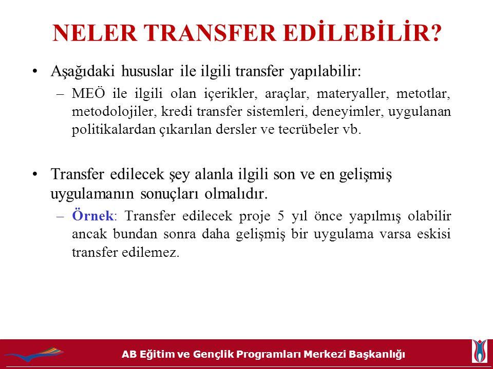 NELER TRANSFER EDİLEBİLİR