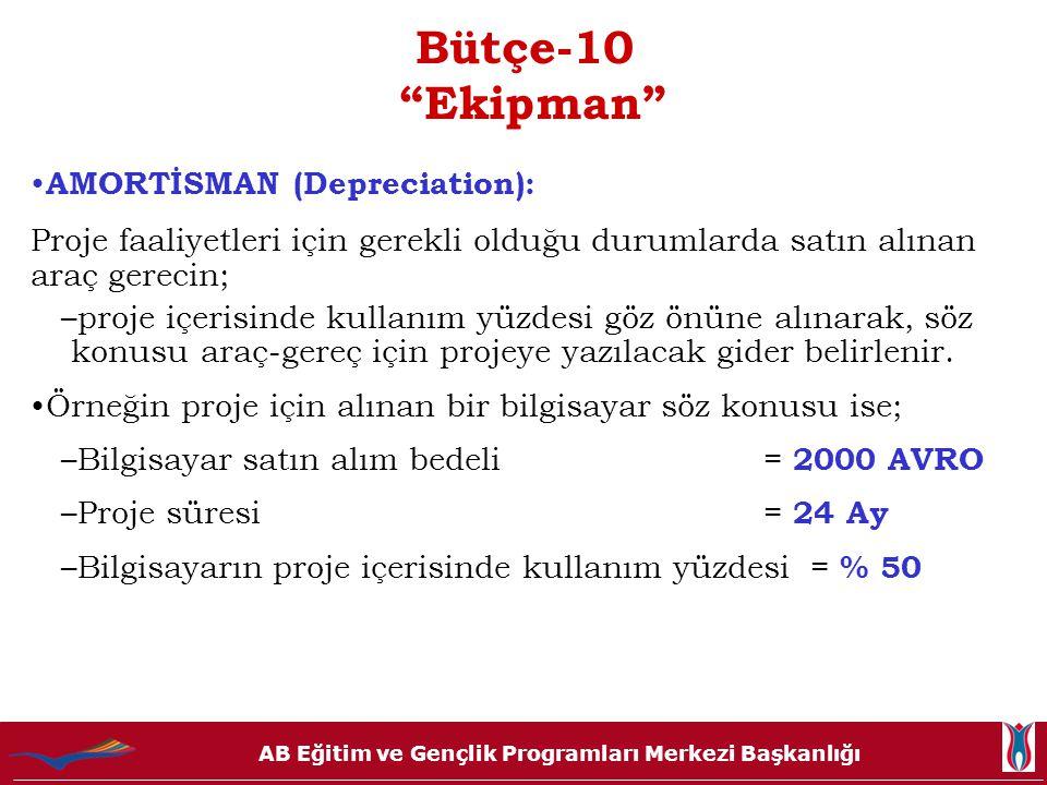 Bütçe-10 Ekipman AMORTİSMAN (Depreciation):