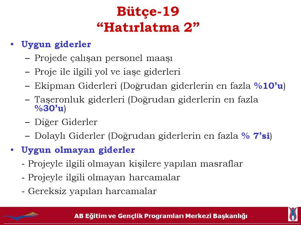Bütçe-19 Hatırlatma 2 Uygun giderler Projede çalışan personel maaşı