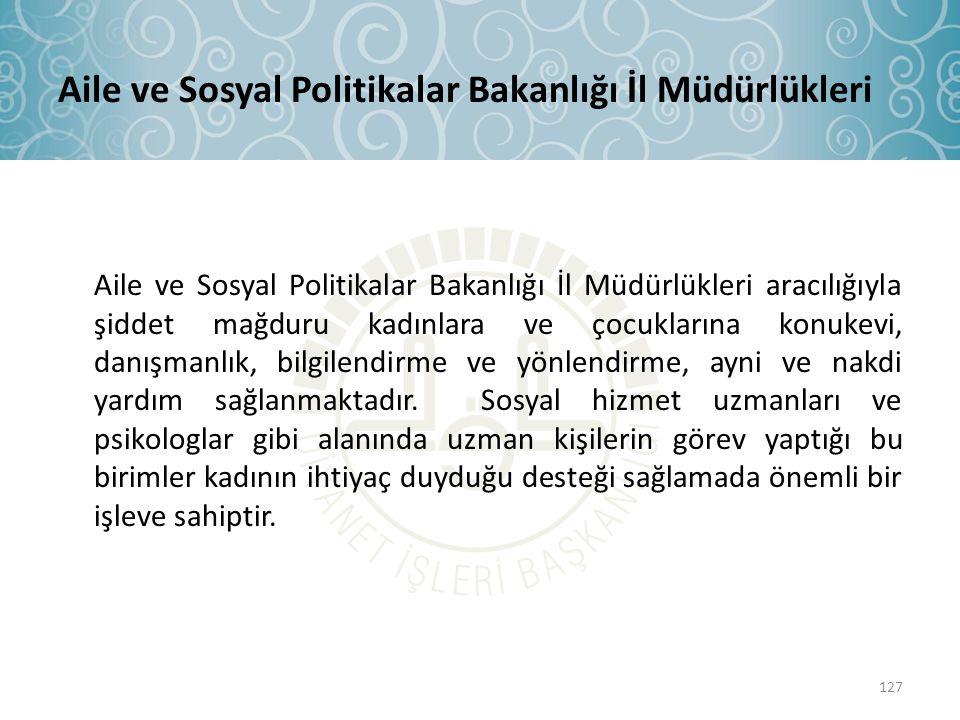 Aile ve Sosyal Politikalar Bakanlığı İl Müdürlükleri