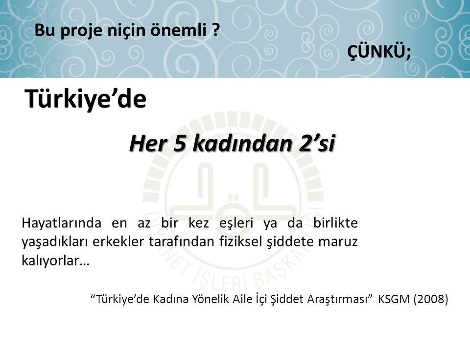 Türkiye'de Her 5 kadından 2'si Bu proje niçin önemli ÇÜNKÜ;