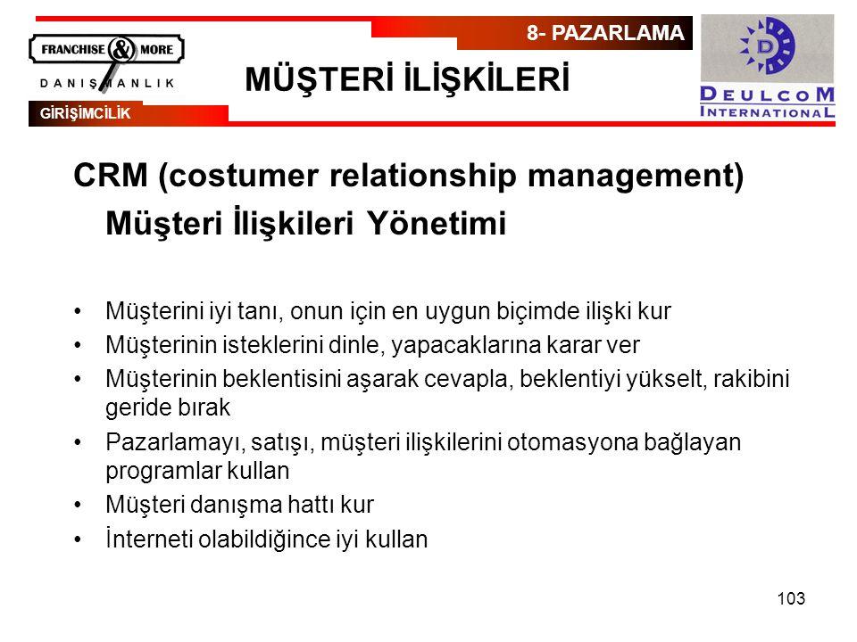 CRM (costumer relationship management) Müşteri İlişkileri Yönetimi
