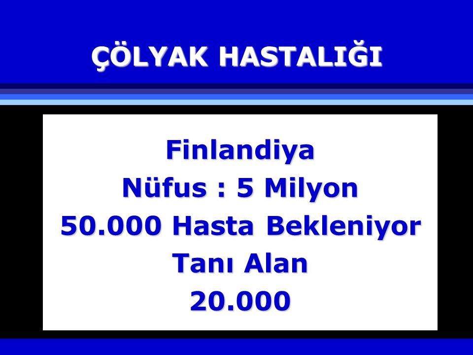ÇÖLYAK HASTALIĞI Finlandiya Nüfus : 5 Milyon 50.000 Hasta Bekleniyor Tanı Alan 20.000