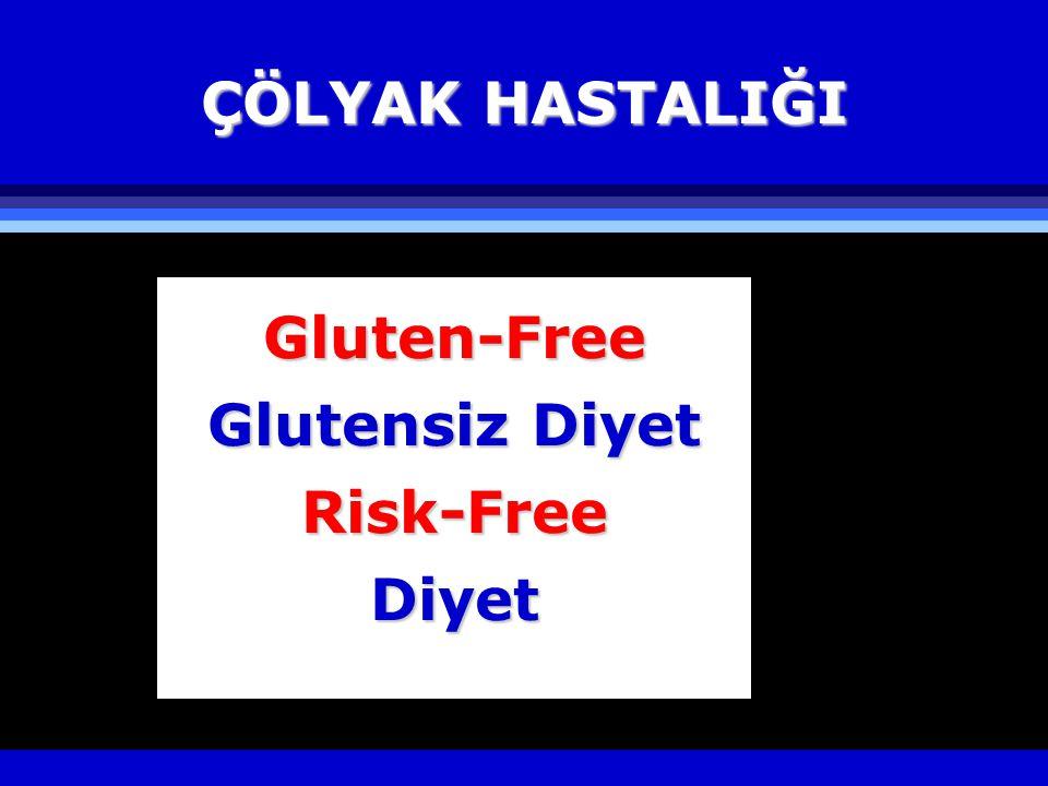 ÇÖLYAK HASTALIĞI Gluten-Free Glutensiz Diyet Risk-Free Diyet