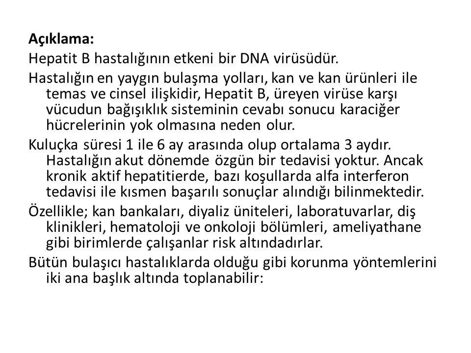 Açıklama: Hepatit B hastalığının etkeni bir DNA virüsüdür