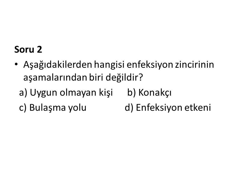 Soru 2 Aşağıdakilerden hangisi enfeksiyon zincirinin aşamalarından biri değildir a) Uygun olmayan kişi b) Konakçı.