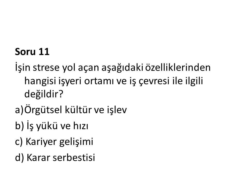 Soru 11 İşin strese yol açan aşağıdaki özelliklerinden hangisi işyeri ortamı ve iş çevresi ile ilgili değildir