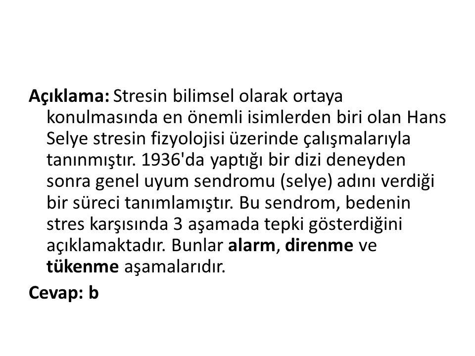 Açıklama: Stresin bilimsel olarak ortaya konulmasında en önemli isimlerden biri olan Hans Selye stresin fizyolojisi üzerinde çalışmalarıyla tanınmıştır.