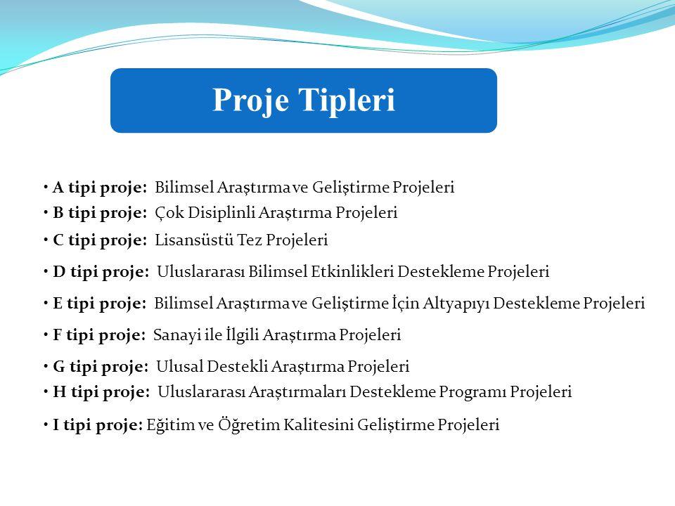 Proje Tipleri • A tipi proje: Bilimsel Araştırma ve Geliştirme Projeleri. • B tipi proje: Çok Disiplinli Araştırma Projeleri.