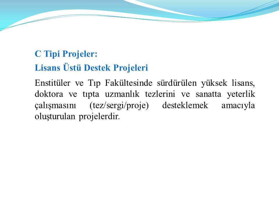 C Tipi Projeler: Lisans Üstü Destek Projeleri.