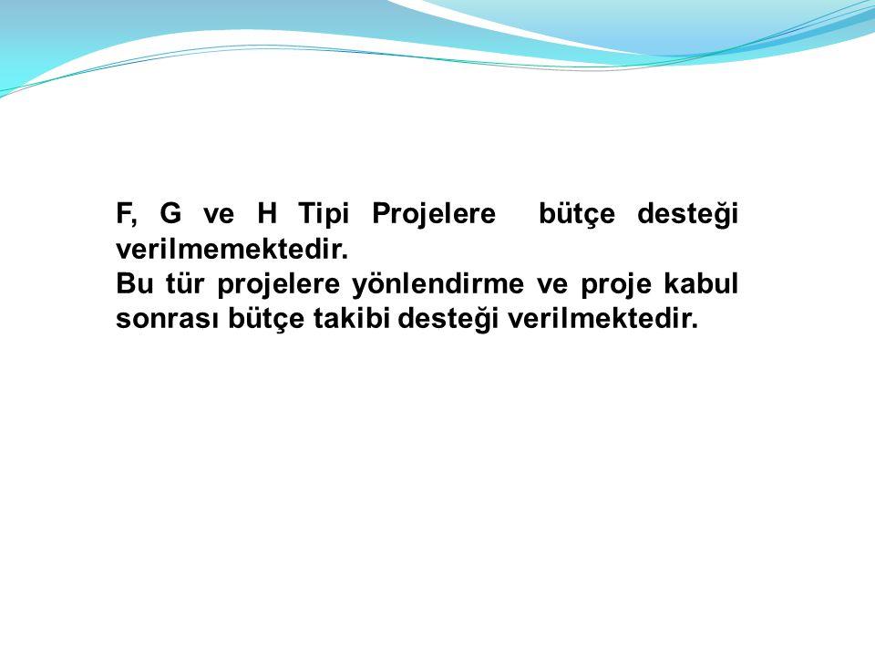 F, G ve H Tipi Projelere bütçe desteği verilmemektedir.