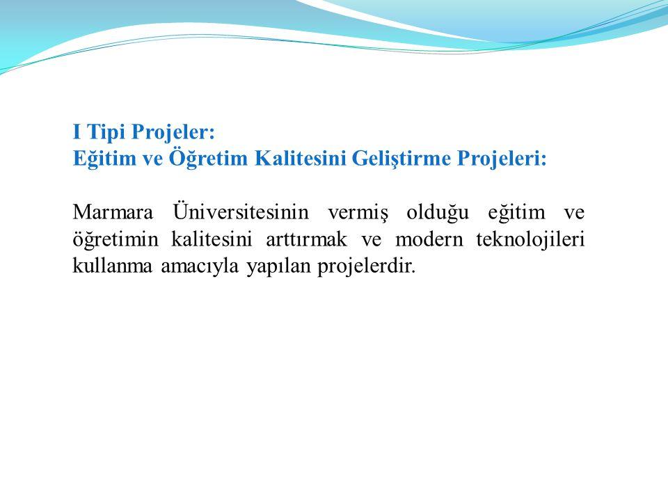 I Tipi Projeler: Eğitim ve Öğretim Kalitesini Geliştirme Projeleri: