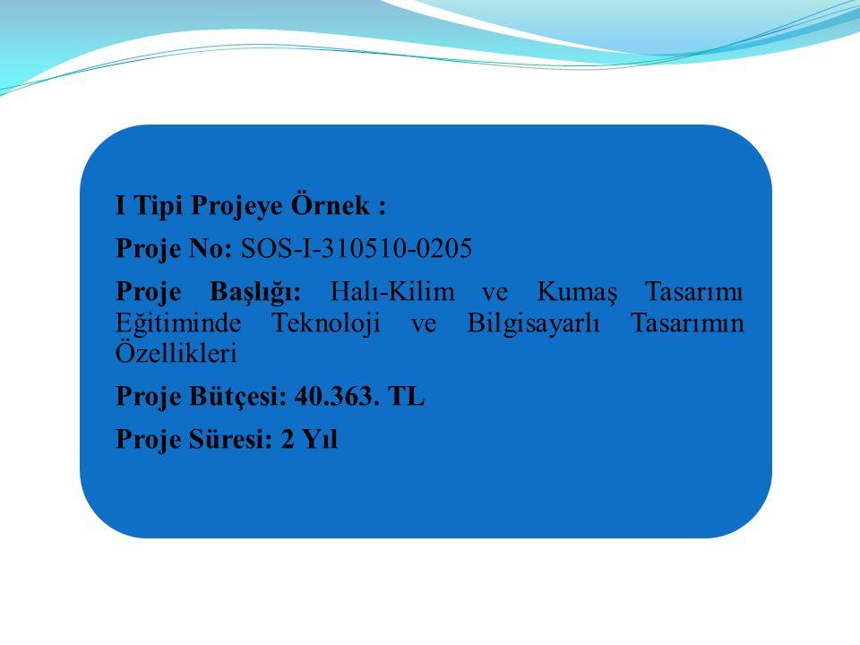 I Tipi Projeye Örnek : Proje No: SOS-I-310510-0205.