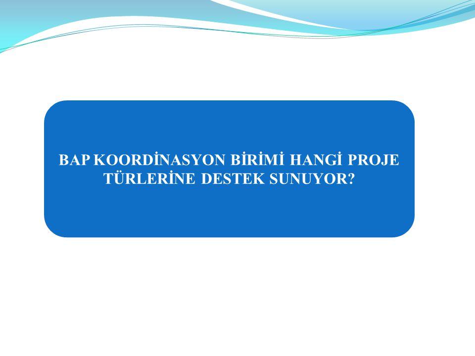 BAP KOORDİNASYON BİRİMİ HANGİ PROJE TÜRLERİNE DESTEK SUNUYOR