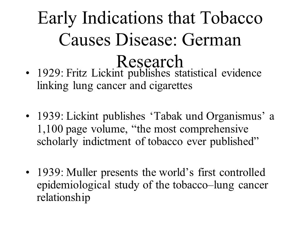 Early Indications that Tobacco Causes Disease: German Research