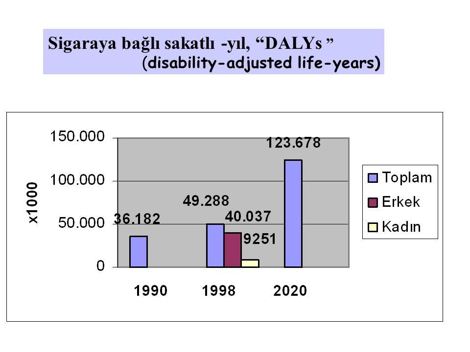 Sigaraya bağlı sakatlı -yıl, DALYs