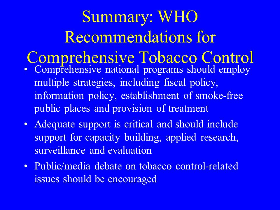 Summary: WHO Recommendations for Comprehensive Tobacco Control