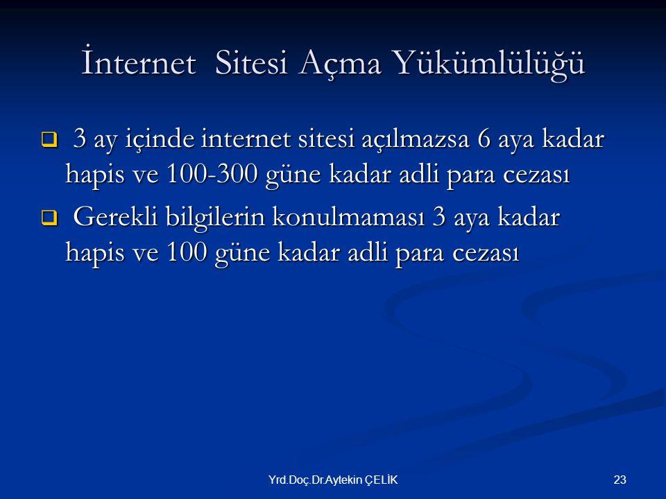 İnternet Sitesi Açma Yükümlülüğü