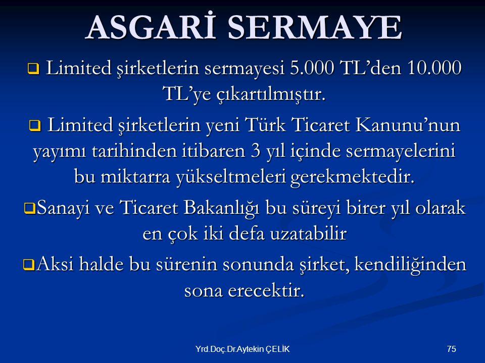ASGARİ SERMAYE Limited şirketlerin sermayesi 5.000 TL'den 10.000 TL'ye çıkartılmıştır.