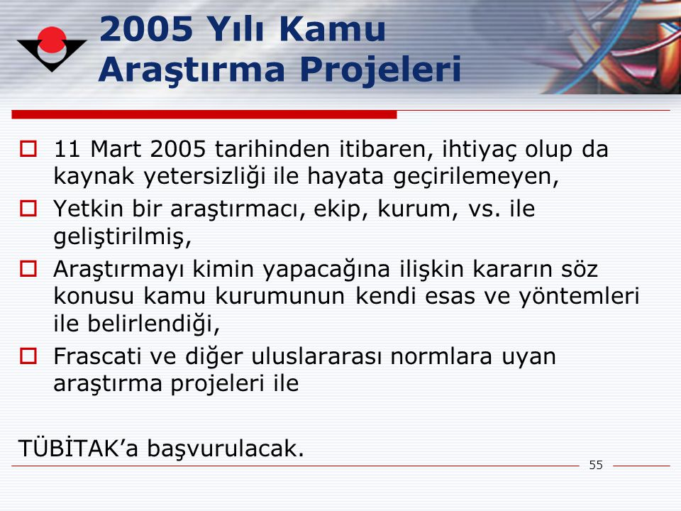 2005 Yılı Kamu Araştırma Projeleri