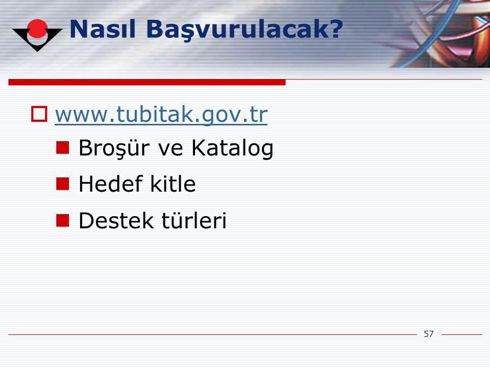 Nasıl Başvurulacak www.tubitak.gov.tr Broşür ve Katalog Hedef kitle