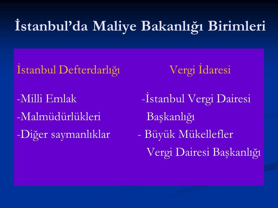 İstanbul'da Maliye Bakanlığı Birimleri
