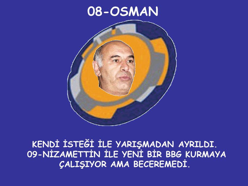 08-OSMAN KENDİ İSTEĞİ İLE YARIŞMADAN AYRILDI.