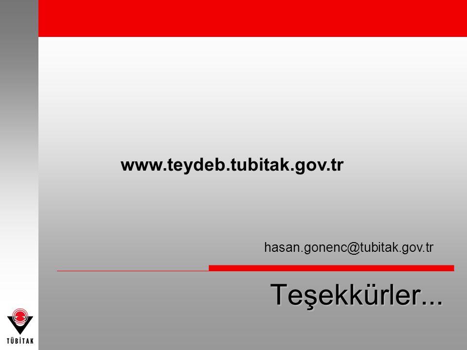 Teşekkürler... www.teydeb.tubitak.gov.tr hasan.gonenc@tubitak.gov.tr