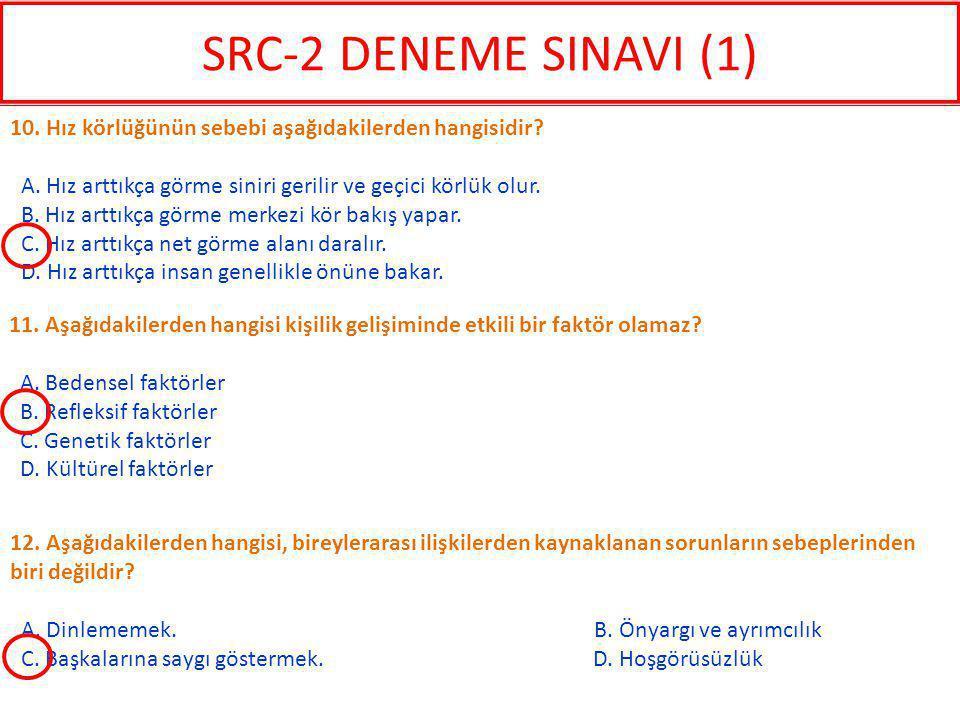 SRC-2 DENEME SINAVI (1) 10. Hız körlüğünün sebebi aşağıdakilerden hangisidir A. Hız arttıkça görme siniri gerilir ve geçici körlük olur.