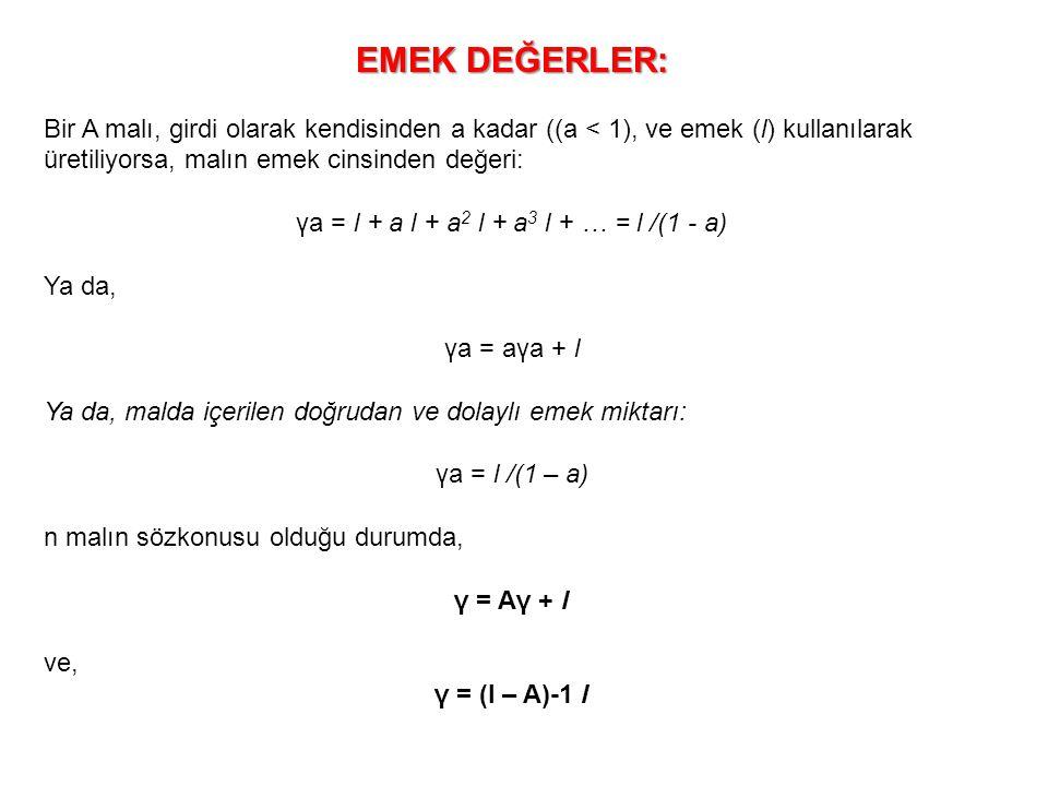 γa = l + a l + a2 l + a3 l + … = l /(1 - a)
