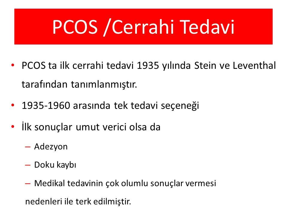 PCOS /Cerrahi Tedavi PCOS ta ilk cerrahi tedavi 1935 yılında Stein ve Leventhal tarafından tanımlanmıştır.