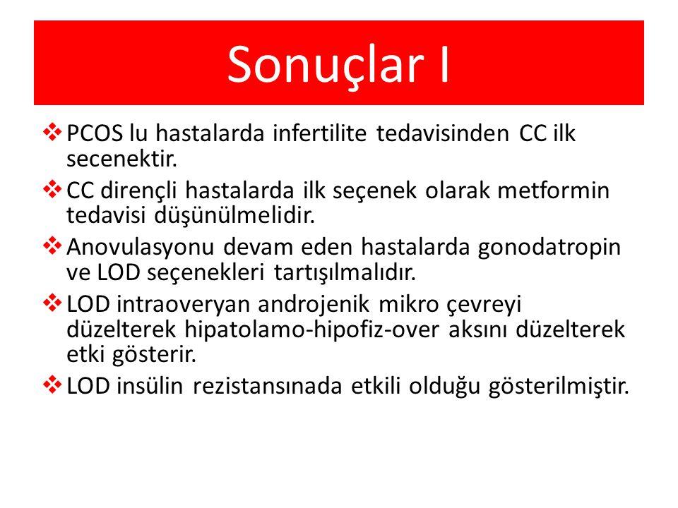 Sonuçlar I PCOS lu hastalarda infertilite tedavisinden CC ilk secenektir.
