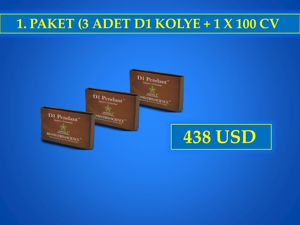 1. PAKET (3 ADET D1 KOLYE + 1 X 100 CV