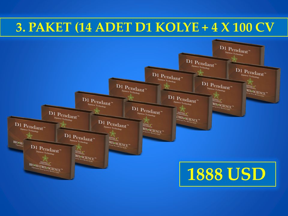 3. PAKET (14 ADET D1 KOLYE + 4 X 100 CV