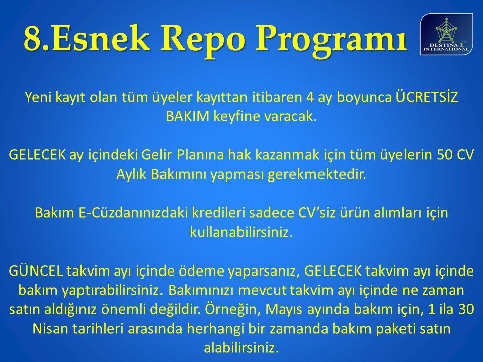 8.Esnek Repo Programı Yeni kayıt olan tüm üyeler kayıttan itibaren 4 ay boyunca ÜCRETSİZ BAKIM keyfine varacak.