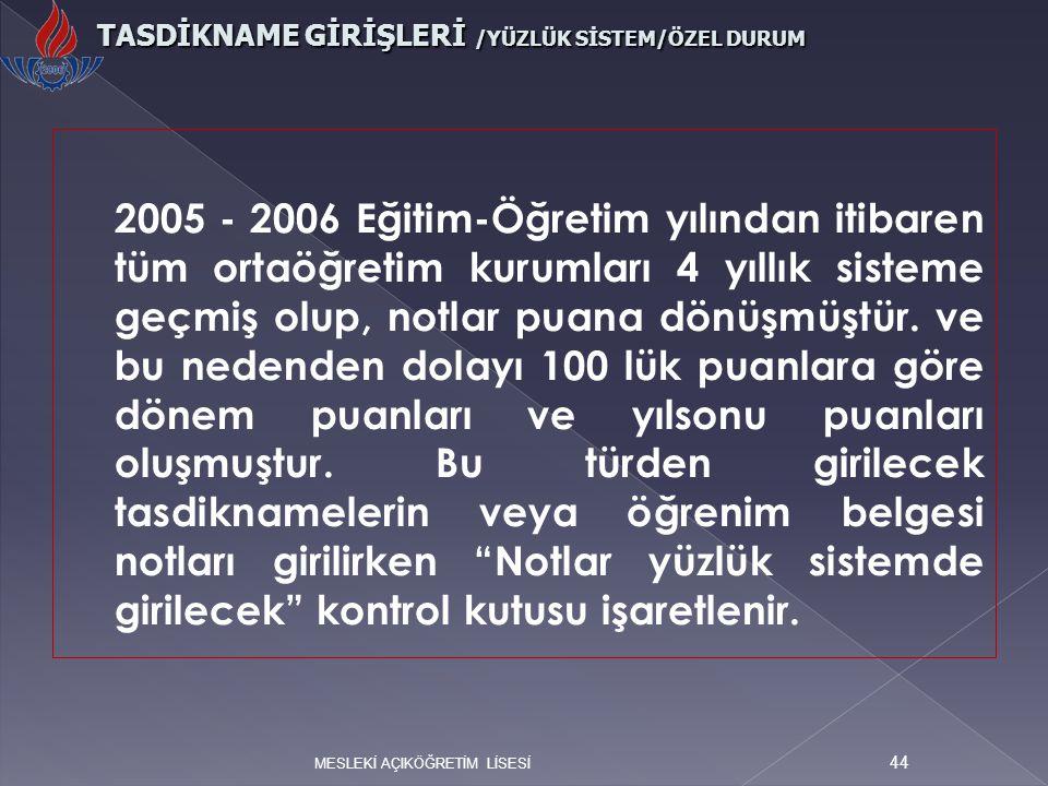 TASDİKNAME GİRİŞLERİ /YÜZLÜK SİSTEM/ÖZEL DURUM