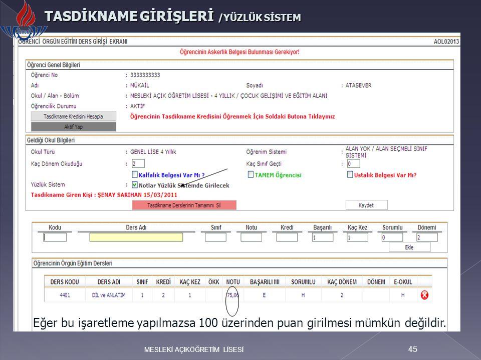 TASDİKNAME GİRİŞLERİ /YÜZLÜK SİSTEM