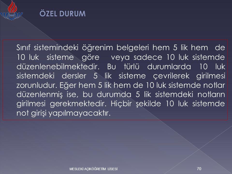 ÖZEL DURUM