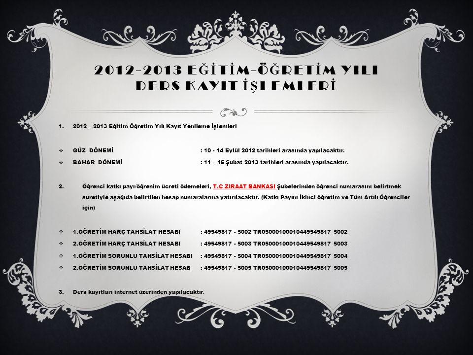 2012-2013 EĞİTİM-ÖĞRETİM YILI DERS KAYIT İŞLEMLERİ