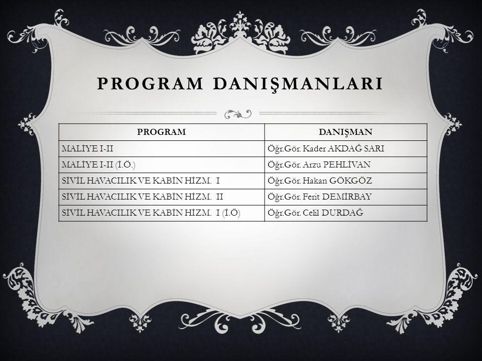 PROGRAM DANIŞMANLARI PROGRAM DANIŞMAN MALİYE I-II
