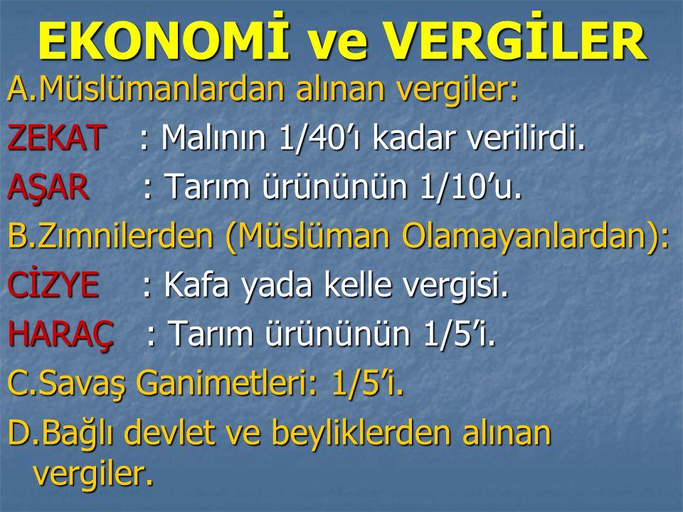 EKONOMİ ve VERGİLER A.Müslümanlardan alınan vergiler: