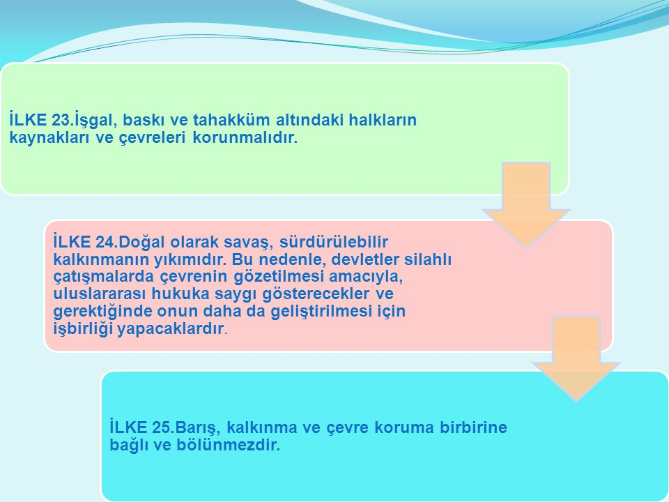 İLKE 23.İşgal, baskı ve tahakküm altındaki halkların kaynakları ve çevreleri korunmalıdır.