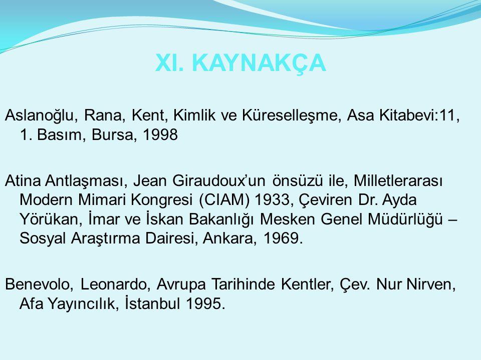 XI. KAYNAKÇA Aslanoğlu, Rana, Kent, Kimlik ve Küreselleşme, Asa Kitabevi:11, 1. Basım, Bursa, 1998.