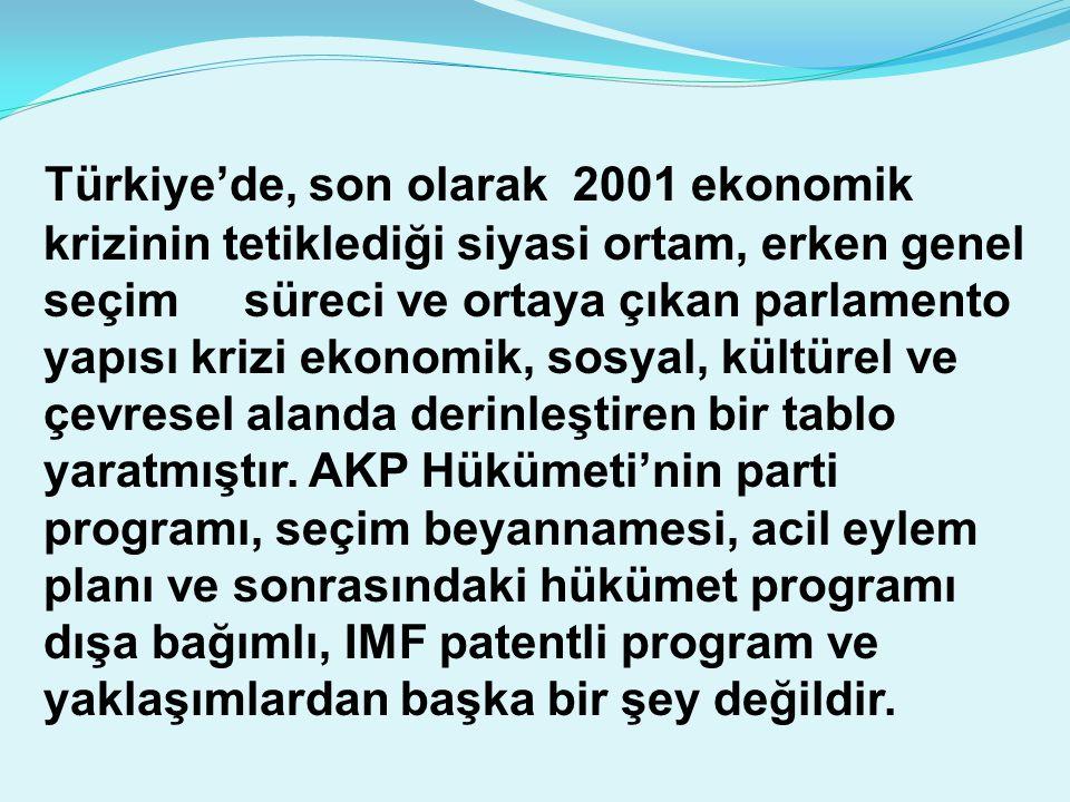 Türkiye'de, son olarak 2001 ekonomik krizinin tetiklediği siyasi ortam, erken genel seçim süreci ve ortaya çıkan parlamento yapısı krizi ekonomik, sosyal, kültürel ve çevresel alanda derinleştiren bir tablo yaratmıştır.