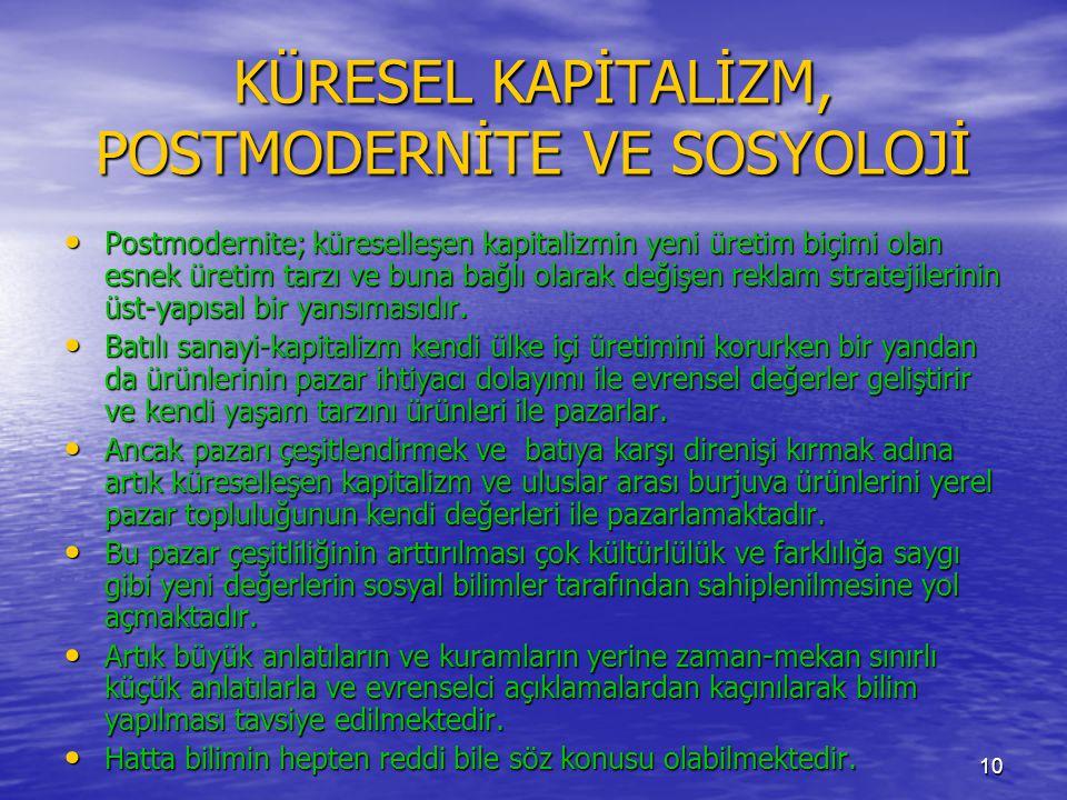 KÜRESEL KAPİTALİZM, POSTMODERNİTE VE SOSYOLOJİ
