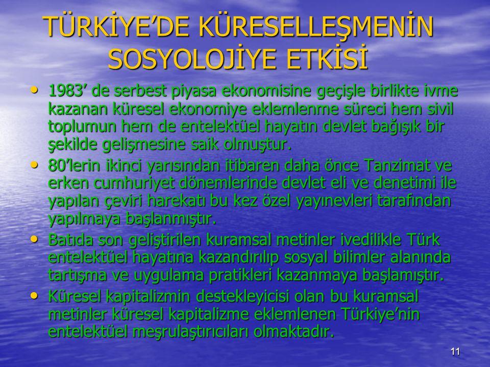 TÜRKİYE'DE KÜRESELLEŞMENİN SOSYOLOJİYE ETKİSİ