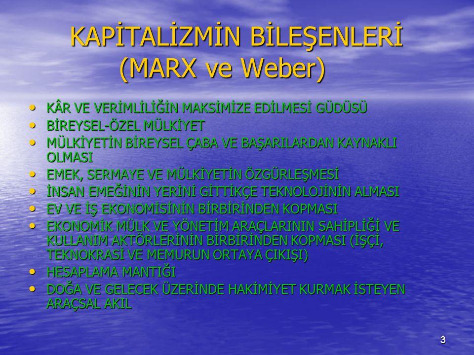 KAPİTALİZMİN BİLEŞENLERİ (MARX ve Weber)
