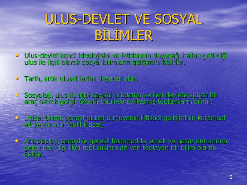 ULUS-DEVLET VE SOSYAL BİLİMLER