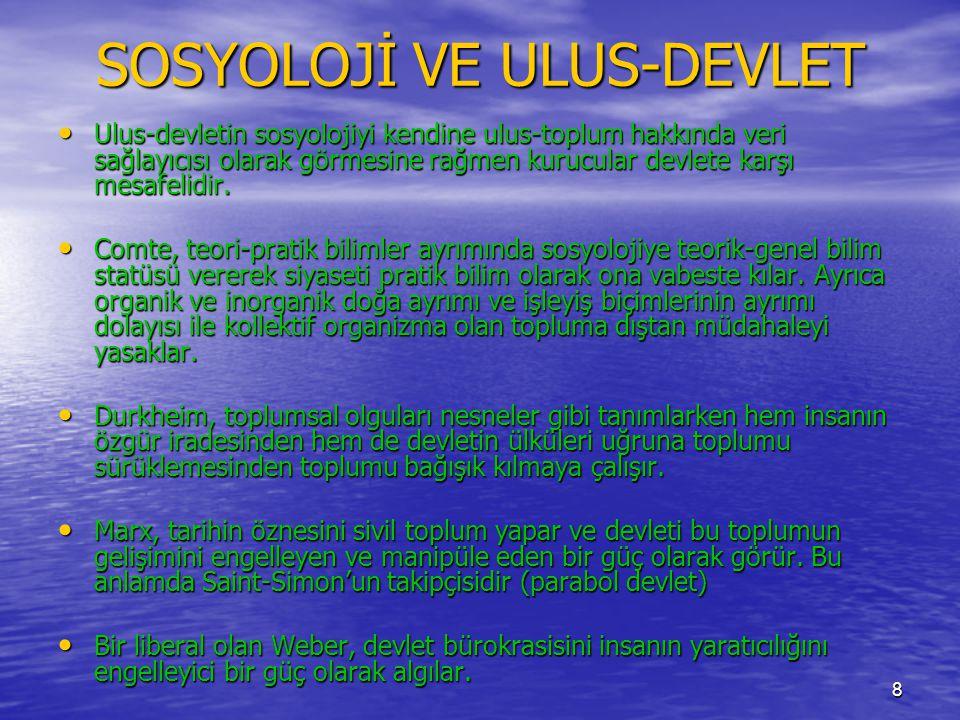 SOSYOLOJİ VE ULUS-DEVLET