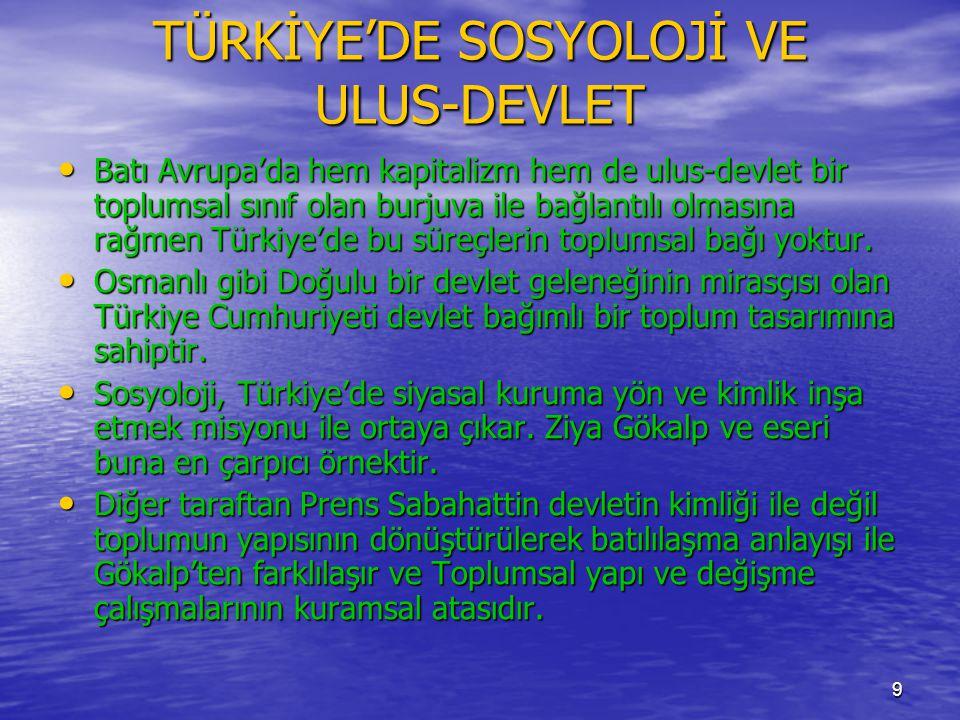 TÜRKİYE'DE SOSYOLOJİ VE ULUS-DEVLET